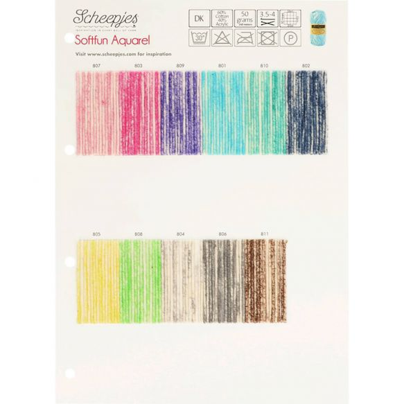 Shade Card - Scheepjes Softfun Aquarel