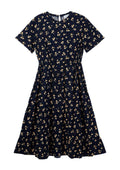 Flared Round-Neck Printed Dress