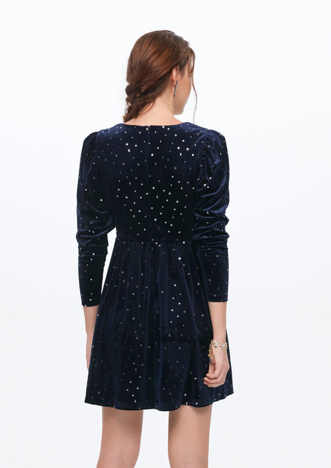Starry Bow-tie Velvet V Dress