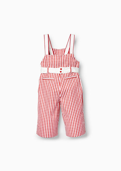 Girl Checkered Embroidery Jumpsuit