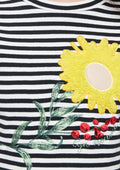 Flower-patch Striped Crop T-shirt
