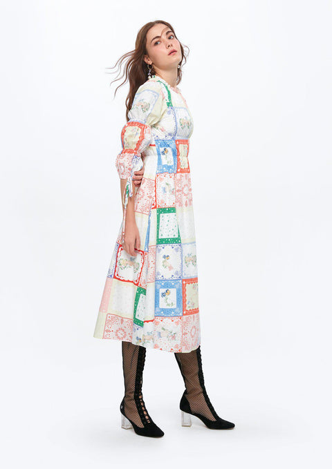 Smock Bow-tie Long Patch Dress