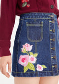 Button-Down Rose Jeans Skirt