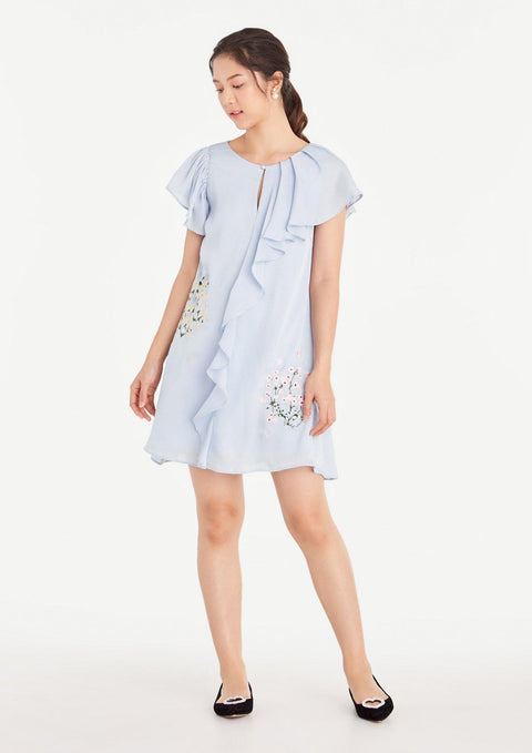Asymmetrical Flounced Keyhole Shift Dress