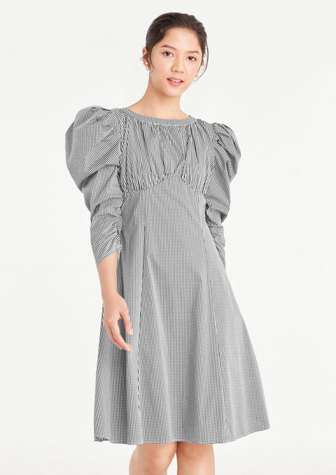 Gingham Puffy Ruched A-line Dress