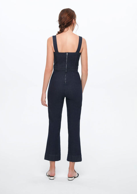 Corset Flared Denim Jumpsuit
