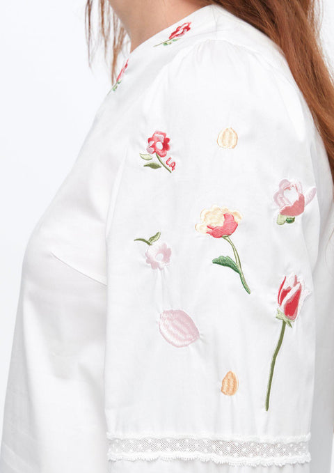Puffed-Sleeve Embroidery Blouse