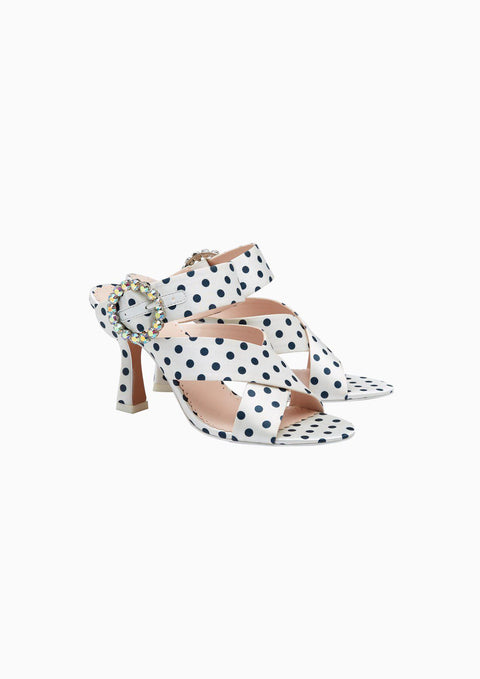 Polka-Dot Crystal Ring Heeled Sandals