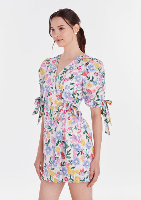 Puffed-Sleeve Floral Printed Dress