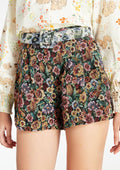 Floral Illustration Paperbag Buckled Shorts
