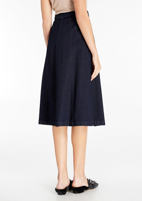 A-Line Denim Midi Skirt