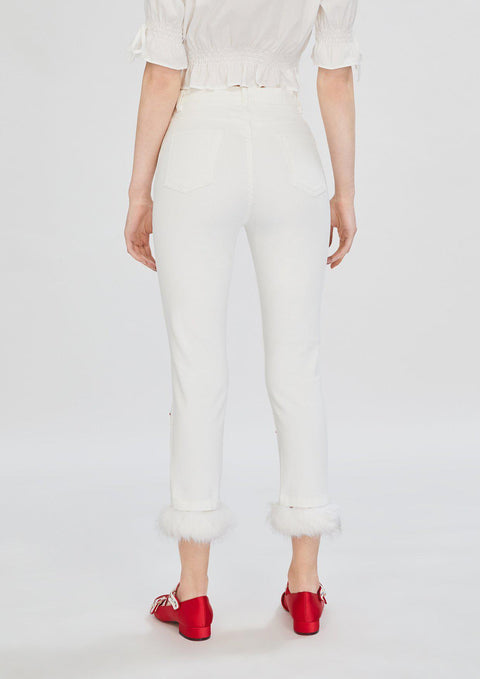 Fur Trim Denim Pants - Lyn around TH