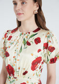 Floral Embroidered Side Ruched Dress