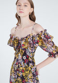 Print Off-shoulder Spaghetti Strap Dress - Lyn around TH