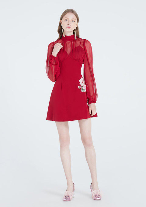 Scarlet High Neck Long Sleeve Dress