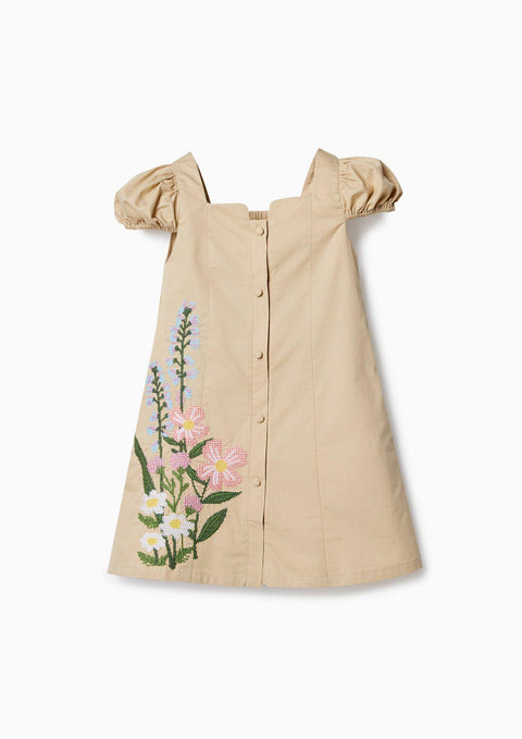 Girl Embroidered Doll-Sleeve Dress