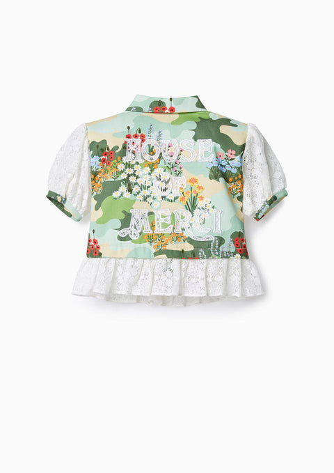 Girl Printed Ruffled Shirt