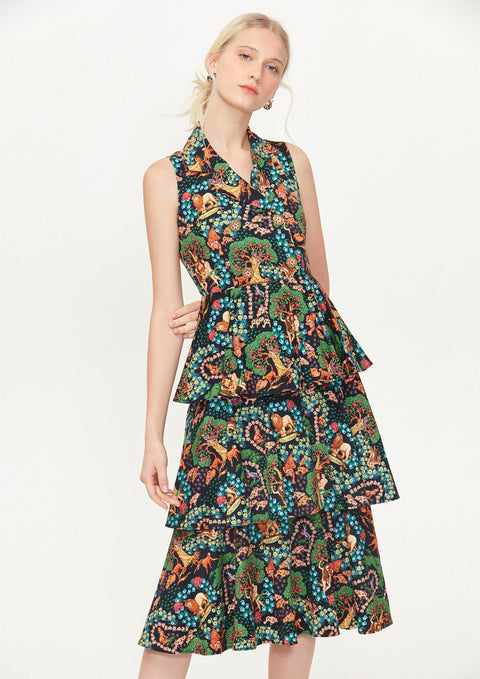 Print Sleeveless Ruffle Dress - Lyn around TH