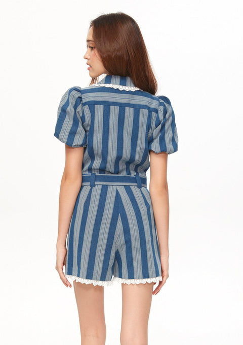 Stripe Puff Sleeve Romper - Lyn around TH