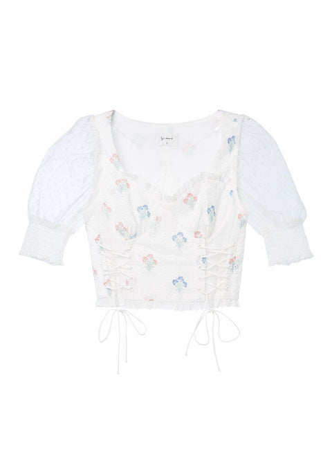 Lace-up Corset Broderie Blouse