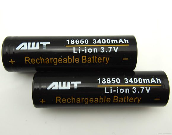 AWT 18650 3400mah Battery - Black (Two Batteries)