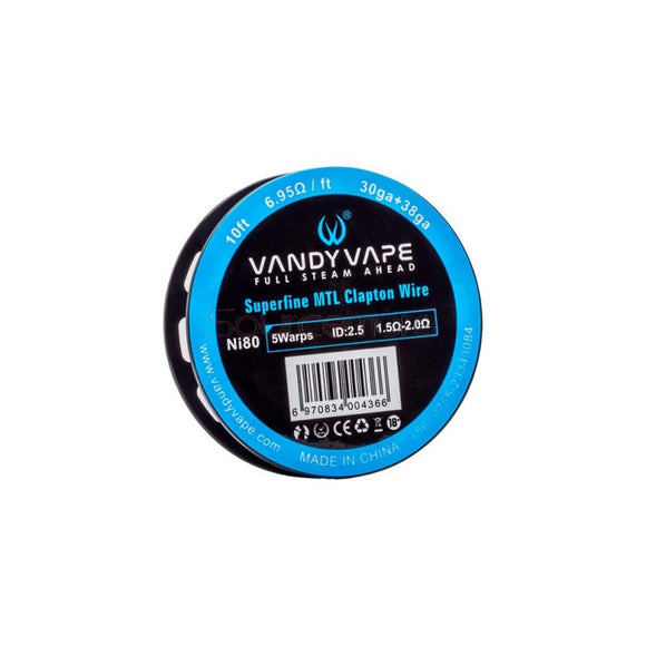 Vandyvape Superfine MTL Clapton Ni80 Wire 10ft