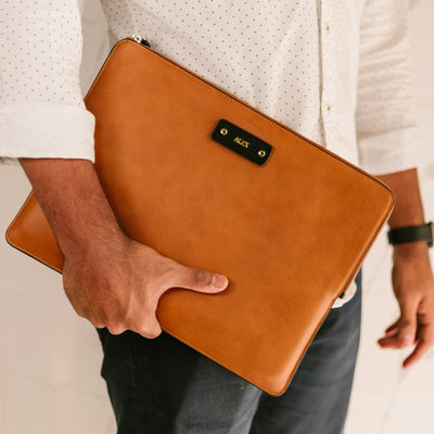 Personalized Leather Laptop/Macbook Sleeve - Chestnut - 13 & 15 inches