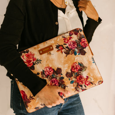Personalized Leather Laptop/Macbook Sleeve - Floral - 13 inches
