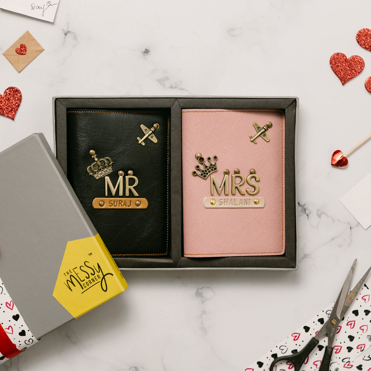 Mr & Mrs Personalised Couple Passport Covers