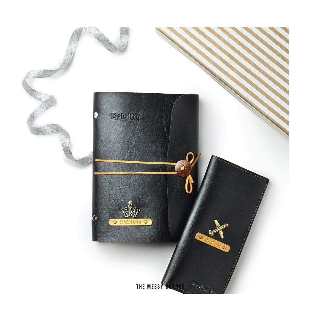 Black Leather Diary with Brown Thread Diary