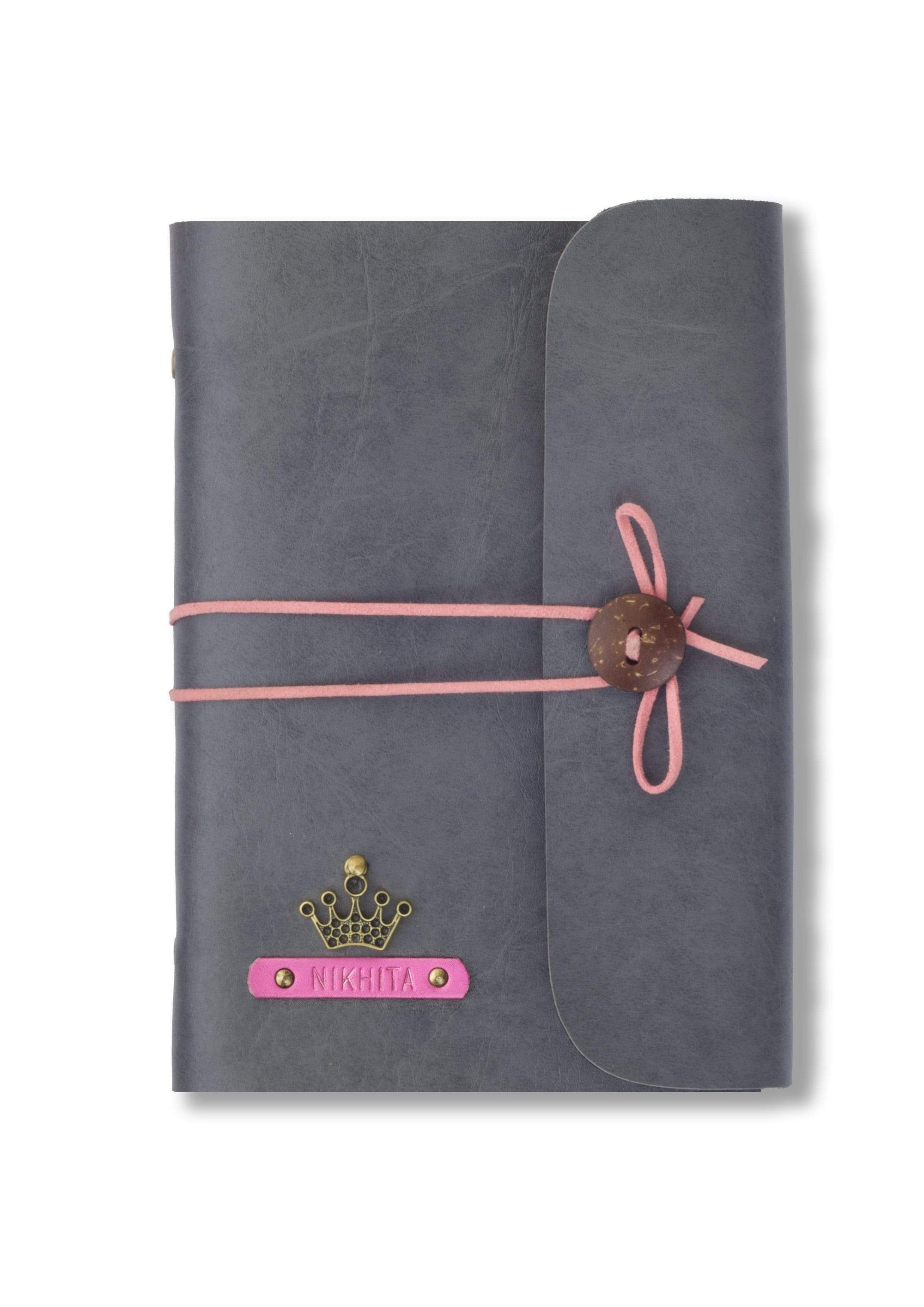 Customized Grey Leather Diary with Pink Thread Diary