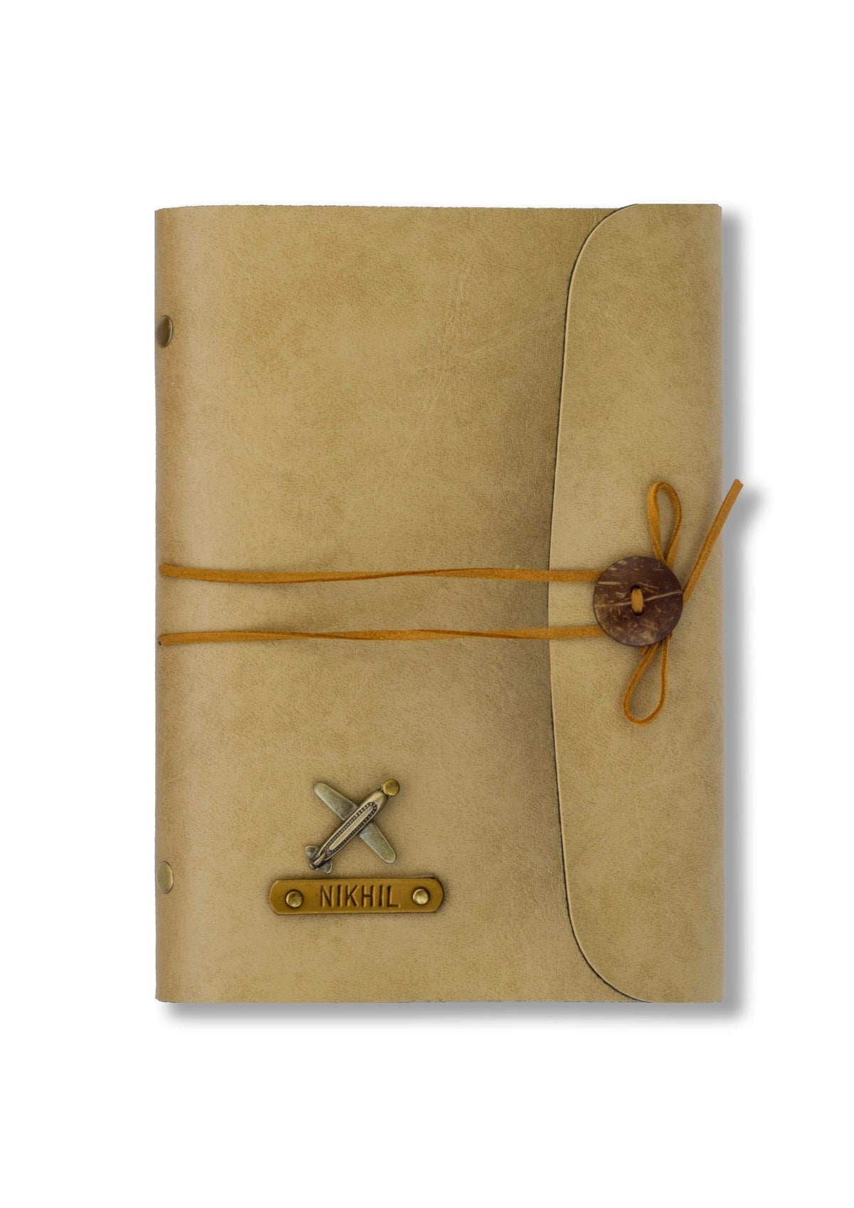 Personalised Beige Thread Diary Diary