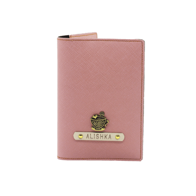 Personalized Passport Cover - Salmon Pink Passport Cover