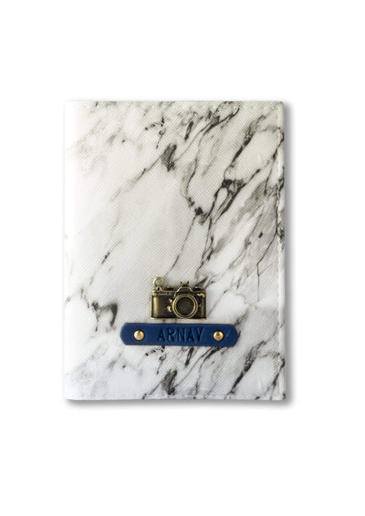 Personalized Passport Cover - White Marble Passport Cover
