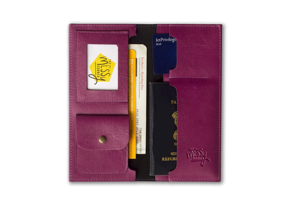 Personalized Travel Wallet - Magenta Travel Wallet