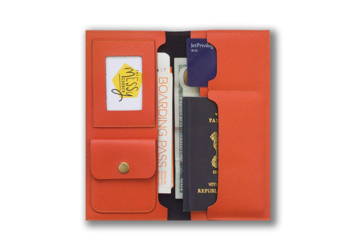 Personalized Travel Wallet - Orange Travel Wallet