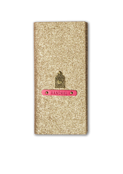 Personalized Travel Wallet - Rose Gold Glitter Travel Wallet