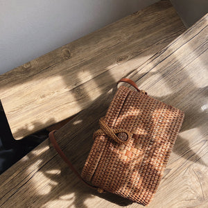 Rectangle Rattan Basket Cross Body