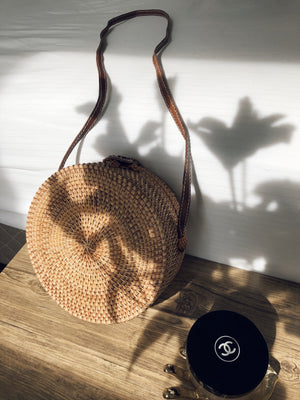 Round Rattan Cross Body Bag