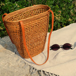 Rattan Tote Bag on the go
