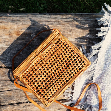 Square Rattan Basket Cross Body