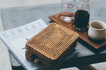 Tiny Rectangle Rattan Cross Body Bag