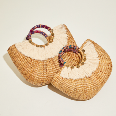 ABOVE I Woven half round handbag with tassel_S