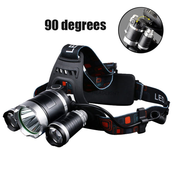 Headlamp 90 degree high Led lighting Head Lamp 4 mode XML T6/R5 LED Headlamp Headlight Camping Fishing headlight Torch Lanterna