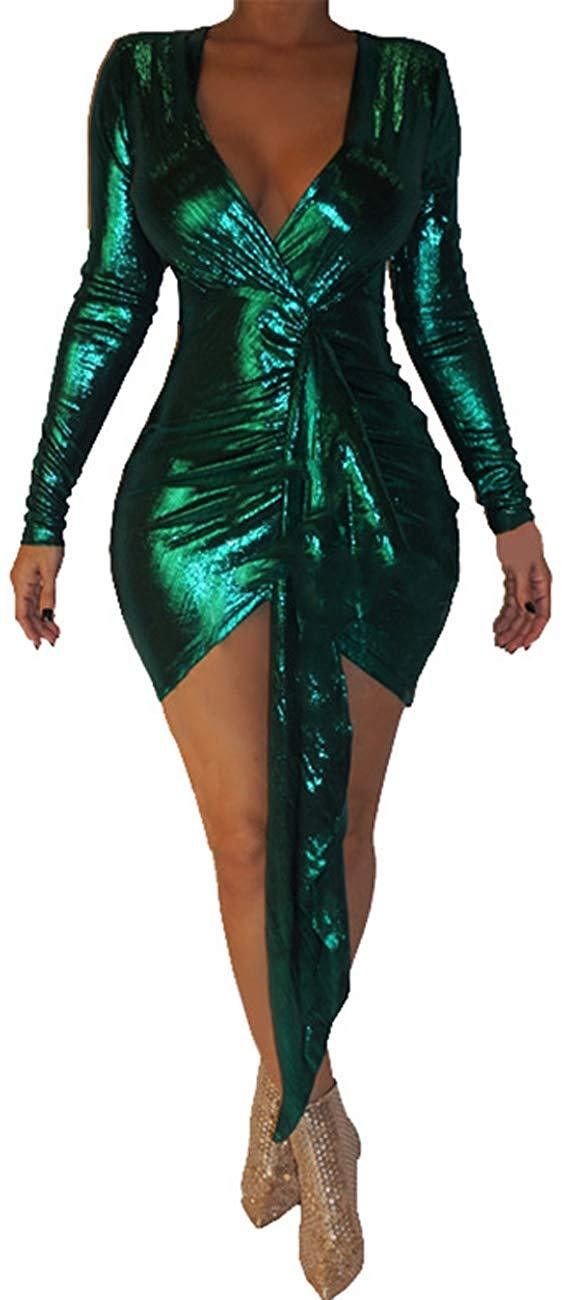 Vaceky Womens Leopard Print Deep V Neck Long Sleeve Mesh See Through Bodycon Long Pants Jumpsuit Rompers
