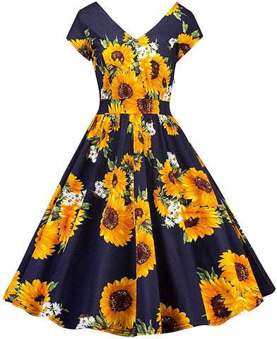 2019 vermers Women Vintage 1950s Sleeveless Casual Evening Party Prom Swing Dress with Retro Print