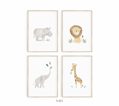 4er Set Kunstdruck/Poster - Safari