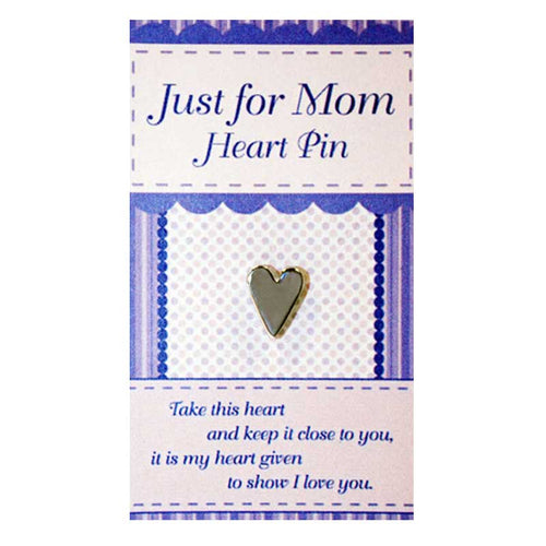 MOM SILVER HEART PIN