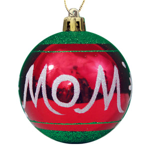 MOM RED/GREEN GLITTER ORNAMENT