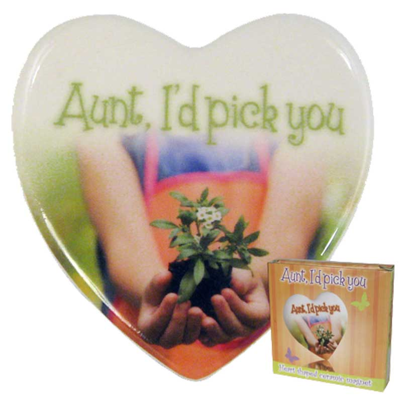 AUNT CERAMIC HEART MAGNET